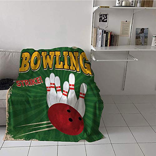 Khaki home Children's Blanket Throw Blanket for Sofa Couch Bed (50 by 60 Inch,Vintage Decor,Bowling Balls and Pins Design Western Sport Hobby Leisure Winner Artsy Art Print,Multi