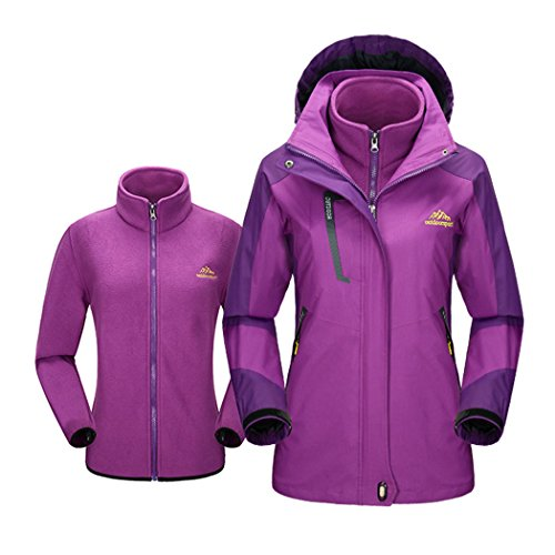 Modern Fantasy Womens Hooded Convertible Fleec Outdoor Sport Windproof Jacket Purple Size US (Boucle Lined Suit)