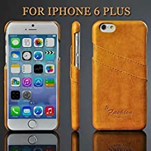 iPhone 6 Plus :1 PU Leather Case with Card holder on Back Cover for iPhone 6 Plus 5.5 inch Original (Yellow)