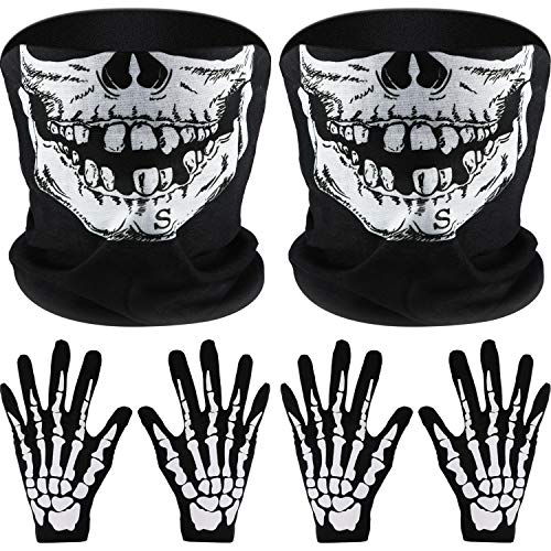 Tatuo 2 Set White Skeleton Gloves and Skull Face Mask Half Ghost Bones for Adult Halloween Dance Costume Party