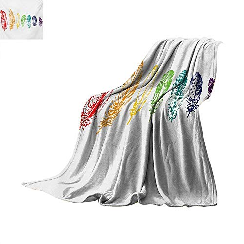 Nature Throw Blanket Collection of Ink Drawing Style with Rainbow Feathers Natural Artwork Print Custom Design Cozy Flannel Blanket 50