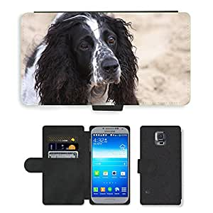PU LEATHER case coque housse smartphone Flip bag Cover protection // M00113936 Perro lindo que presenta para mascotas // Samsung Galaxy S5 S V SV i9600 (Not Fits S5 ACTIVE)