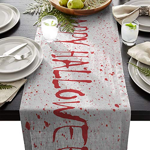 Olivefox Linen Burlap Table Runner, 13x90 Inch Farmhouse Table Runners for Summer Parties, Dining Room, Home Kitchen, Wedding Decorations - Machine Washable, Happy Halloween Chainsaw Killer]()