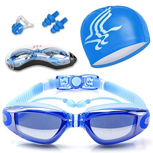 51HOLEy011L. SS500 Diseño innovador - El tapón para los oídos está conectado con las gafas de natación. no te preocupes más por perder tapones para los oídos mientras estás nadando. Además, este tapón de silicona suave es cómodo en el oído con alta resistencia al agua. Anti niebla y protección UV - Antiniebla y capa ULTRAVIOLETA de la protección le proporcionan una experiencia excelente de la natación bajo agua. La protección contra la niebla puede ofrecerle una visión distante clara y larga debajo del agua, protección ultravioleta puede ayudar a proteger sus ojos contra ser lastimado por las luces ultravioleta y brillantes. Gran sellado y sin fugas - El material de silicona y el diseño ergonómico aseguran un ajuste perfecto en la mayoría de las formas faciales y nunca permite la filtración de agua.