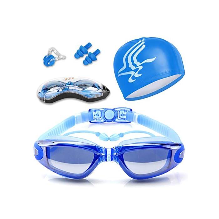 51HOLEy011L Diseño innovador - El tapón para los oídos está conectado con las gafas de natación. no te preocupes más por perder tapones para los oídos mientras estás nadando. Además, este tapón de silicona suave es cómodo en el oído con alta resistencia al agua. Anti niebla y protección UV - Antiniebla y capa ULTRAVIOLETA de la protección le proporcionan una experiencia excelente de la natación bajo agua. La protección contra la niebla puede ofrecerle una visión distante clara y larga debajo del agua, protección ultravioleta puede ayudar a proteger sus ojos contra ser lastimado por las luces ultravioleta y brillantes. Gran sellado y sin fugas - El material de silicona y el diseño ergonómico aseguran un ajuste perfecto en la mayoría de las formas faciales y nunca permite la filtración de agua.