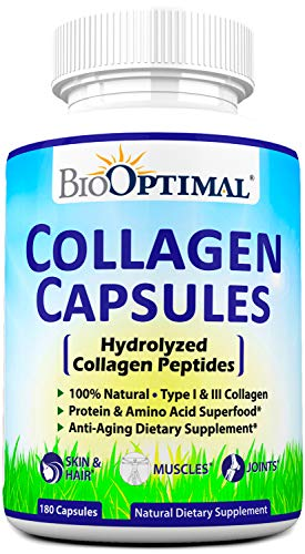 BioOptimal Collagen Pills - Collagen Supplements, Grass Fed, Premium Quality, Non-GMO, for Women & Men, Benefits Skin, Hair, Nails & Joints, Collagen Capsules, 180 Count