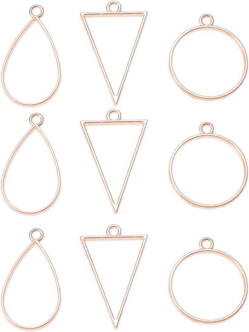 Supvox 30pcs Open Bezel Pendants Charms Assorted Geometric Hollow Frame Pendant Blank Pendant Trays forDIY Resin Jewellery Craft