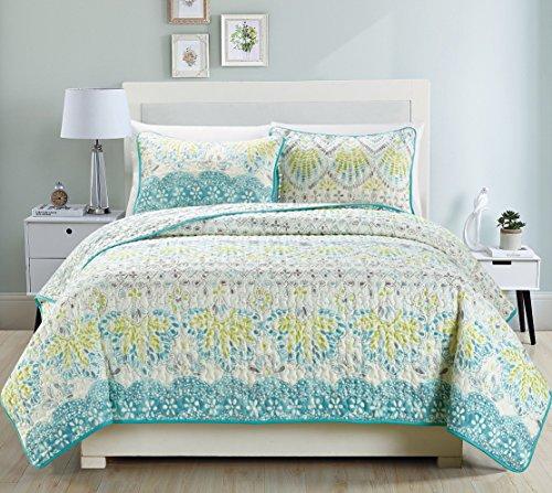 3piece fine printed quilt set reversible bedspread coverlet king size bed cover aqua blue sage green grey - Bedspreads King Size