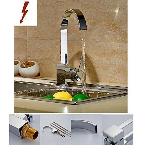 Auralum® Einhebel Küchearmatur Spültischarmatur Waschtisch Niederdruck Wasserfall ArmaturWasserhahn Mischbatterie für Küche