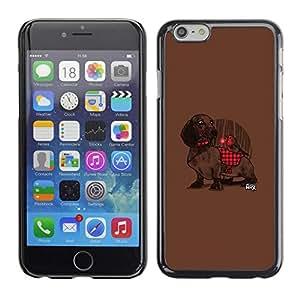 FECELL CITY // Duro Aluminio Pegatina PC Caso decorativo Funda Carcasa de Protección para Apple Iphone 6 Plus 5.5 // Dachshund Plaid Red Pattern Cute Dog