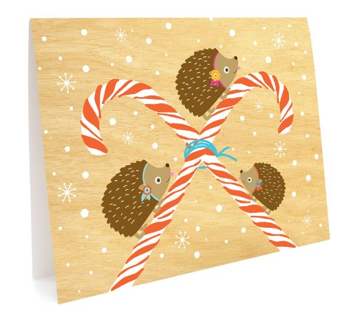 Peppermint Hedgies Holiday Cards, 10-Pack by Night Owl Paper Goods