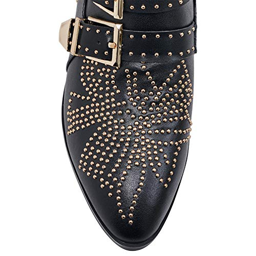 6b9161f71bfe5 GEEDIAR Leather Ankle Boots,Women Low Heel Studded Chunky Buckle Mental  Rivet Black Bootie Size