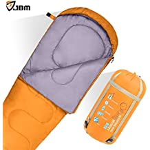 JBM Mummy Sleeping Bag with Pillow 5Colors for All Seasons 0℃/32℉ Single Water Resistent and Repellent Printed Pattern Insulated For Camping Hiking Traveling Packaging including Compression Sack