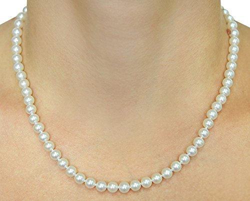 "18K Gold Japanese Akoya Saltwater White Cultured Pearl Necklace AAA Quality, 18"" Princess Length"