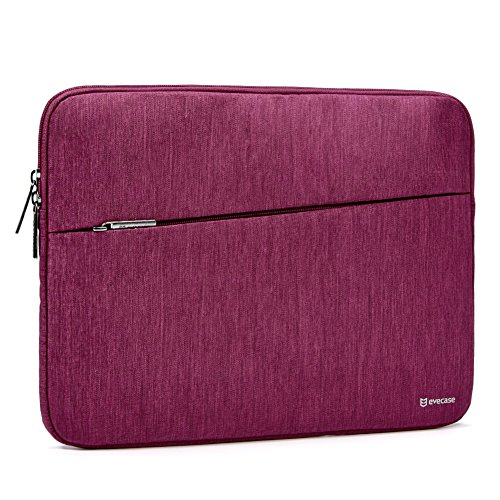 2017 Surface Pro Tablet Sleeve Evecase Water Repellent Shockproof Carrying Sleeve Protective Case Bag with Accessory Pocket for Microsoft Surface Pro Window 10 Pro 2017 Newest Version - Wine Red