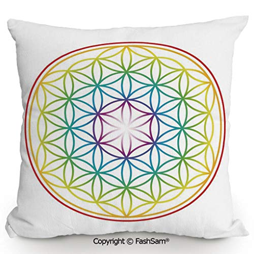 FashSam Home Super Soft Throw Pillow Flower of Life Pattern Radiant Colors Cosmic Dimension Space Forms Artful Print for Sofa Couch or Bed(18