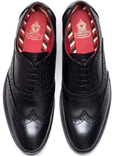 Formal Mens London Shoes Brogues Waxy Black Base bramble Leather wH0qvwAF