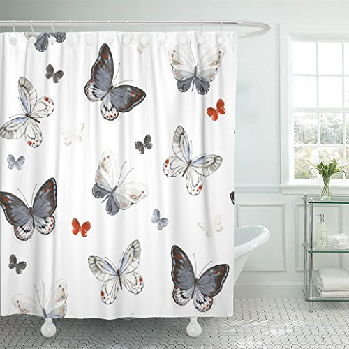Emvency Shower Curtain Colorful Butterflies White Black Red and Gray Colors Waterproof Polyester Fabric 60 x 72 Inches Set with Hooks