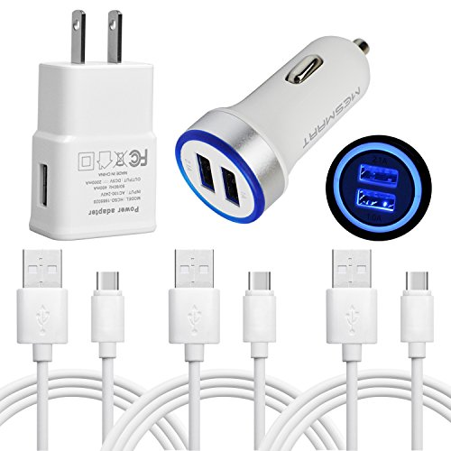 BOXMART Charging Bundle Kit Certified 1 x 2A AC Home Wall Power Adpater+1x Dual USB LED Car Charger+3x USB Type C Data Sync Cables for Samsung Galaxy S9/S9 Plus/S8 Active/Google Nexus 5X/6P (White)