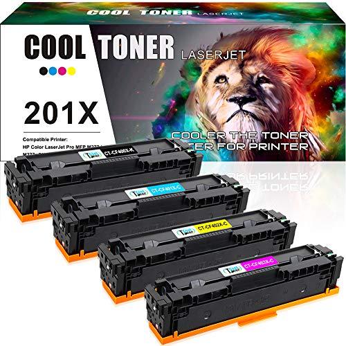 Cool Toner 4PK 201X Compatible Toner Cartridge Replacement for HP 201X CF400X CF401X CF402X CF403X 201A CF400A Toner for HP Color Laserjet Pro MFP M277dw M252dw M277c6 M277n M252n M277 M252 Printer