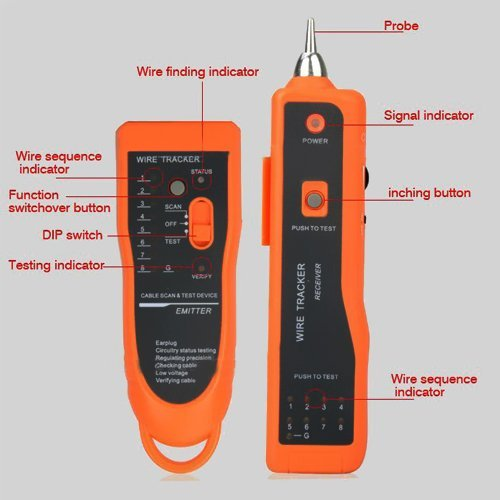 VicTsing RJ45 RJ11 Cable Tester Network LAN Ethernet Phone Telephone Cable Tester Wire Tracker Scanning Device Wire Measuring Instrument