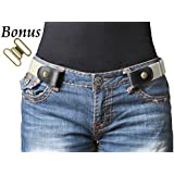 """No Buckle Stretch Belt For Women/Men Elastic Waist Belt Up to 48"""" for Jeans Pants (Pants Size 34""""-48"""", e-White)"""
