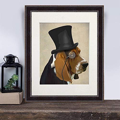 Cazvas Basset Hound Gift - Formal Hound - Dog with hat Basset Hound Picture Gift for Boyfriend Groomsmen Gift Funny Dog Gift sad Dog Wall Art No-Frame ()