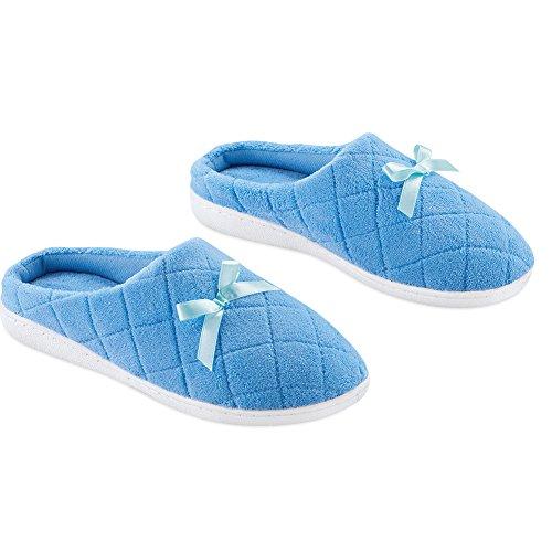 Slip On Pantofole Con Fiocco - Imbottitura Trapuntata, Solette Imbottite Bluette