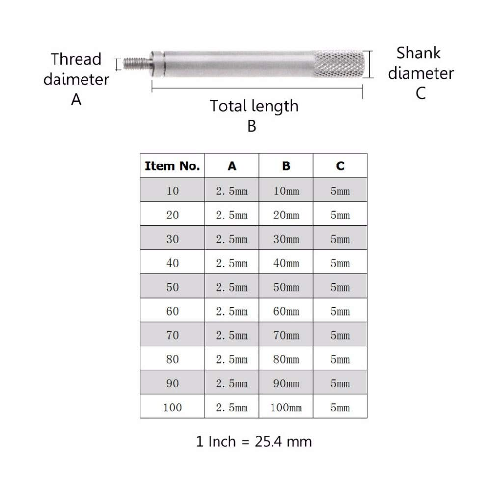 Diameter: 30mm Kamas Top Quality Extension Stem Rods For Dial Indicators Probe Connecting Rod HSS M2.510mm-100mm JUN16