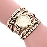 Inkach Bohemian Style Weave Leather Bracelet Lady Womans Wrist Watch Gift (Gold)