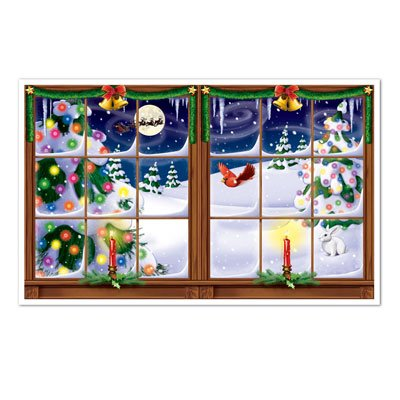 Snowy Christmas Insta-View Party Accessory (1 count) (1/Pkg) (Christmas Snowy Decorations)