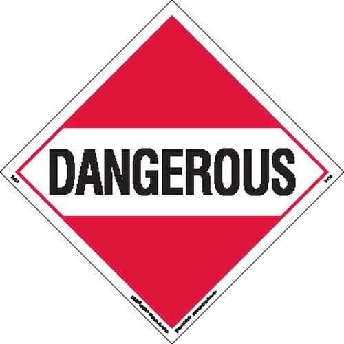 Labelmaster Z-PL1 Dangerous Hazmat Placard, Worded, Polycoated Tagboard (Pack of 25) by Labelmaster®