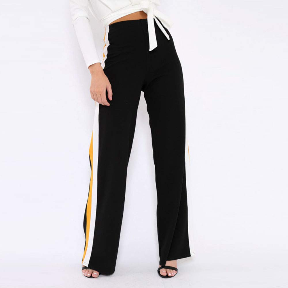 3339cf8386d2 Clearance Sale! Women Pants Womens Side Striped High Waist Wide Leg Yoga  Casual Pants Long Trousers at Amazon Women s Clothing store