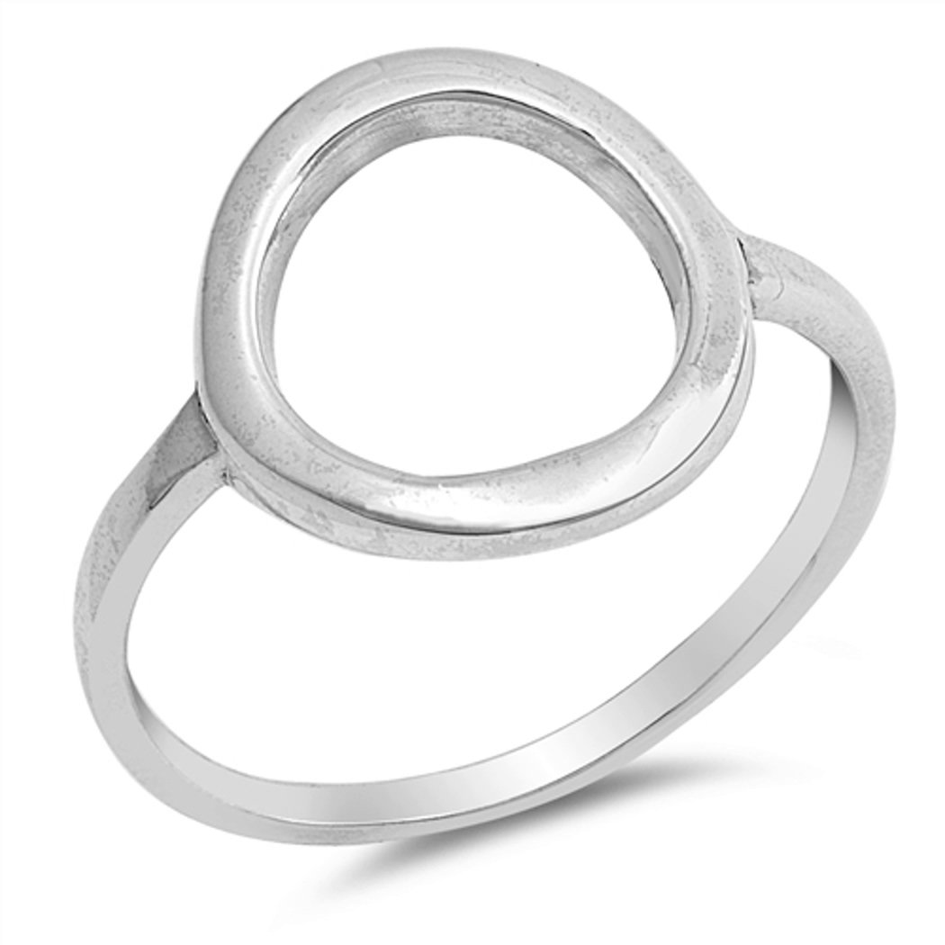 Sterling Silver Simple Circle Ring (Size 4 - 10) - 8