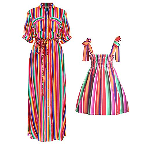 Womens Dresses Belt Clothing Rainbow (PopReal Women Button Down Collar Roll up Sleeve Rainbow Colorful Stripes Maxi Dress)