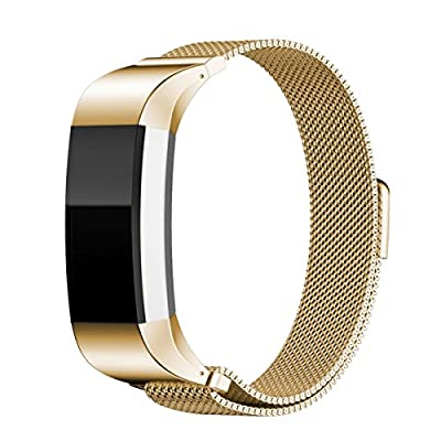 "Metal Band for Fitbit Charge 2,Jewelry Accessories for 2016 Fitbit Charge 2 HR - Replacement Stainless Steel Bracelet with Magnetic Fastener, 5.5"" - 9"" Wrist Circumference"