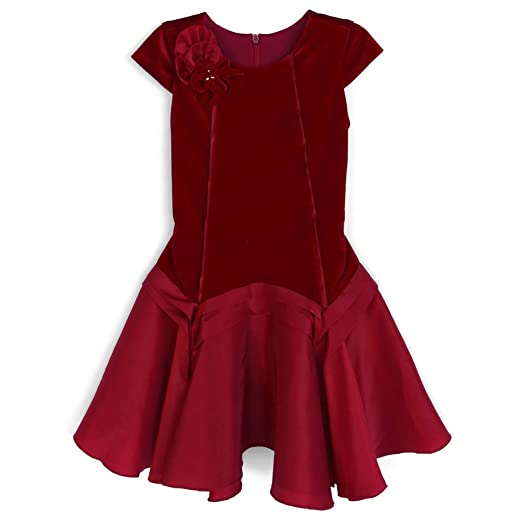1930s Childrens Fashion: Girls, Boys, Toddler, Baby Costumes Isobella & Chloe Gorgeous Red Royal Jewels Drop Waist Dress $60.00 AT vintagedancer.com