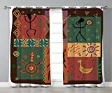 Thermal Insulated Blackout Grommet Window Curtains,Primitive,Funky Tribal Pattern Depicting African Style Dance Moves Instruments Spiritual,Multicolor,2 Panel Set Window Drapes,for Living Room Bedroom