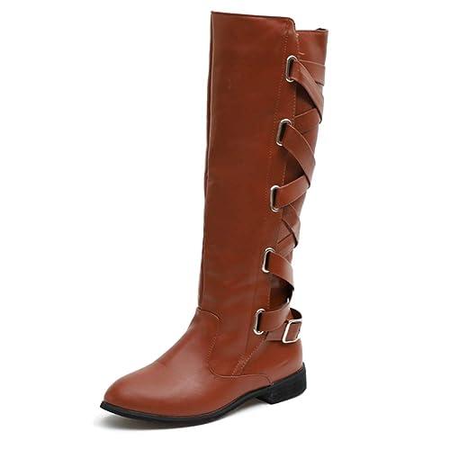 21633062c1 Tenthree Pierna Altas Botas Montar Zapatos Mujer - Mujeres Plana Tacón Bajo  Botas Pantorrilla Rodilla Pierna Ancha Cuero Botines Cremallera Invierno  Montar ...