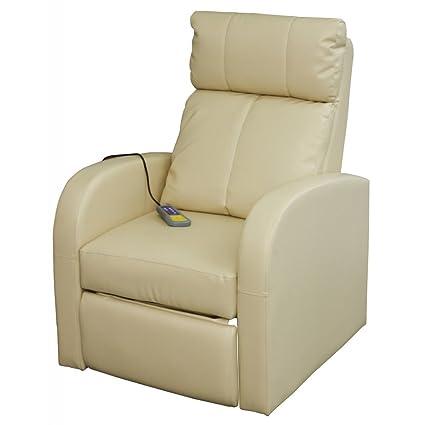 Copri Poltrona Massaggiante.Festnight Poltrona Massaggiante Con Poggiapiedi Poltroncina Relax Massaggio Ada Reclinabile Crema