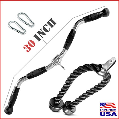 30 INCH Deluxe Heavy Duty Solid Curl Bar Revolving Hanger Home Gym Cable Attachments Training Rubber Handgrips / Tricep Rope / Snap Hooks (Shipping from USA)