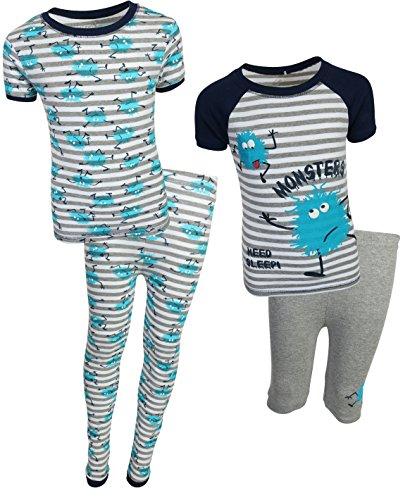 Freestyle Boys 4-Piece Snug Fit Pajama Set (2 Full Sets) Monster, Size 12' ()