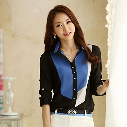 IEason Women Shirt 2017 Hot Sale! Fashion Womens Slim Long Sleeve Print Chiffon T Shirt Blouses Tops (M, Black) - Sweater Vest Knit Pattern