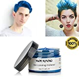 Blue Hair Color Wax, Temporary Hairstyle Cream 4.23 oz Hair Pomades, Natural White Hairstyle Wax for Party, Cosplay, Halloween, Date (Blue)