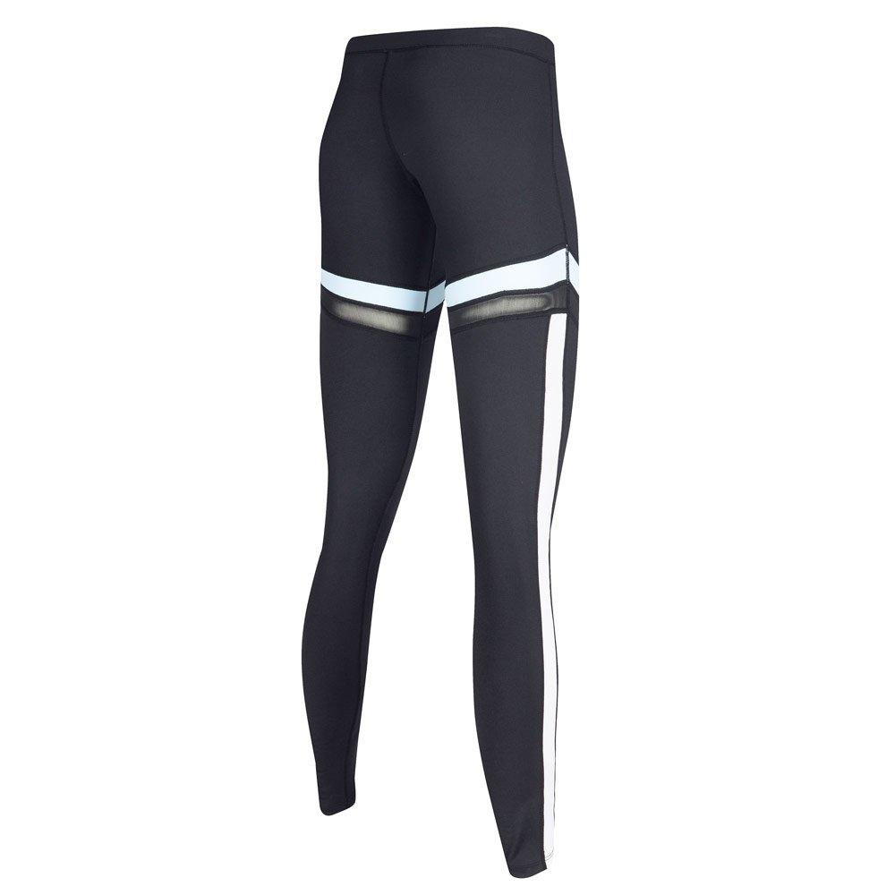 Black 02 Womens Sports Leggings Strechy High Waist Moisture Wicking Yoga Fitness Running Pants