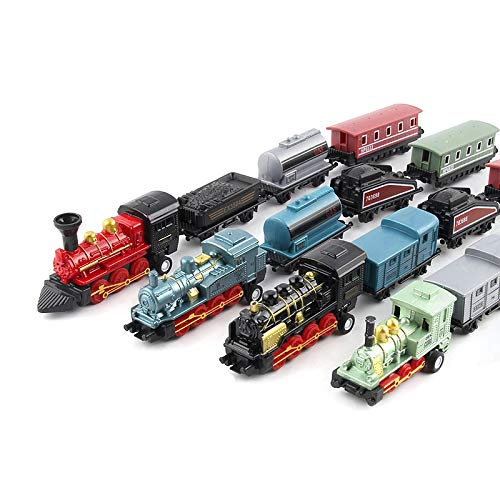 Easy 99 Mini Simulation Steam Train Pull-Back Train Model Diecasts Locomotive for Kids' Toys, Set of 4 (Train Diecast)