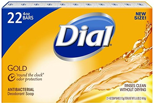Dial Antibacterial Deodorant Gold Bar Soap, 4 Ounce,22 Count Net Wt 5.5 LBS (Triclosan Deodorant)