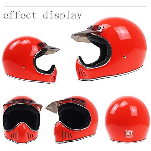 Adult Motorcycle Full Face Helmet, DOT Certification with Light Barrier Men and Women Seasons Universal/Retro Full Face Cruiser 3/4 Harley Helmet,Red,XL