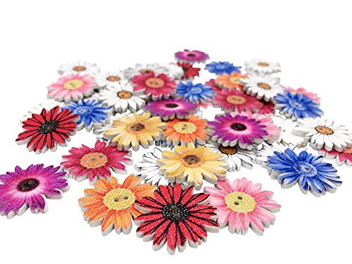 Creative Wooden Buttons Novelty Mixed Random Fashion Round 2 Holes Buttons for Sewing Crafting Scrapbook Retro Flower-Shaped Pattern Decorative Button 25mm Pack of 50 (Multicolored-Flower)
