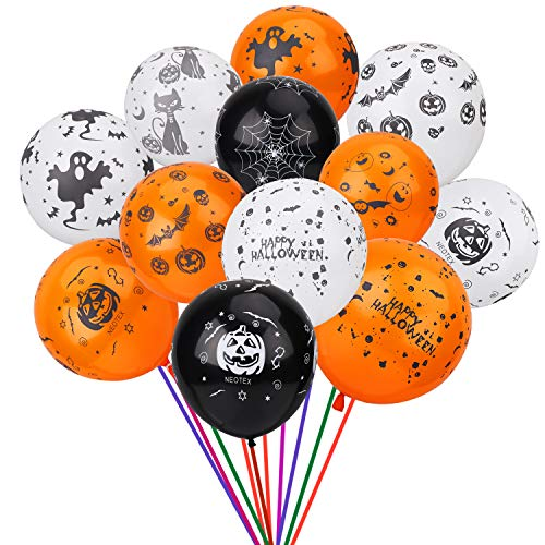 Vidillo Halloween Balloons Decorations, 100 Pack 12 Inches Latex Pumpkin Bat Ghost Specter Scary Spider Web Pattern Design Balloons for Halloween Party Supplies, Black Orange White by Vidillo